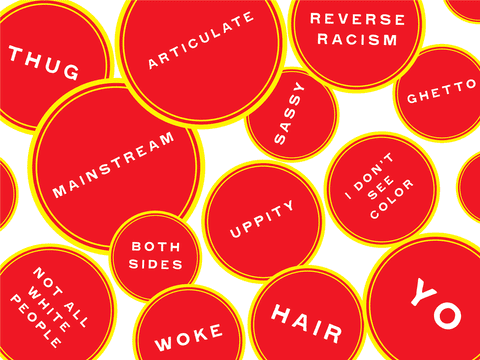 Front endpaper of the book 'You Can Keep That To Yourself', printed with words including 'articulate' and 'hair'